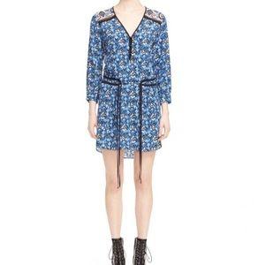 Veronica Beard Venice Paisley Blue Silk Dress NWT